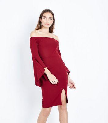 Burgundy Bell Sleeve Pencil Dress New Look