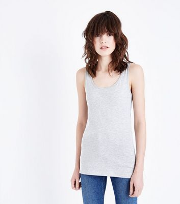 Grey Marl Scoop Neck Vest New Look