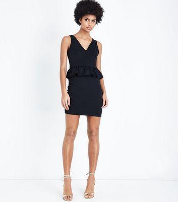 Black Peplum Bodycon Dress New Look