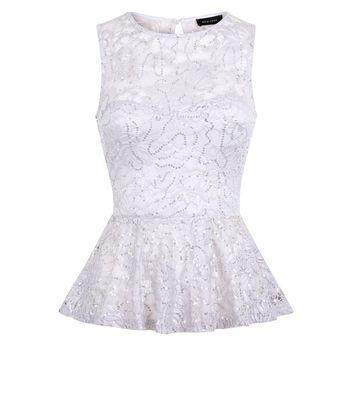 Pale Grey Sequin Lace Peplum Top New Look
