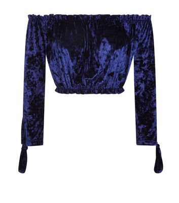 Navy Velvet Gathered Bardot Crop Top New Look