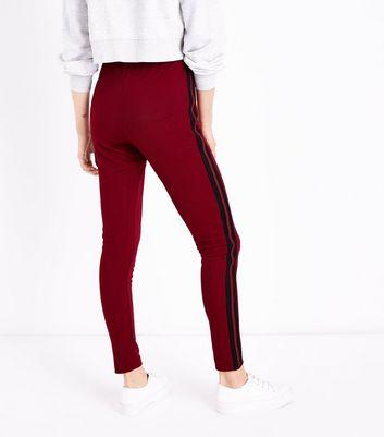 Burgundy Side Stripe Leggings New Look