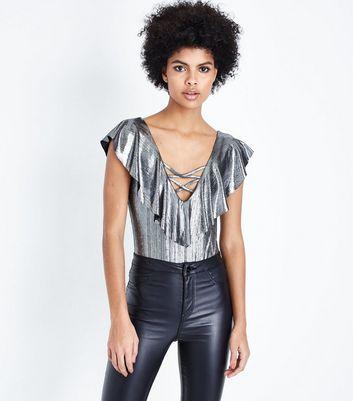Silver Metallic Lattice V Neck Bodysuit New Look