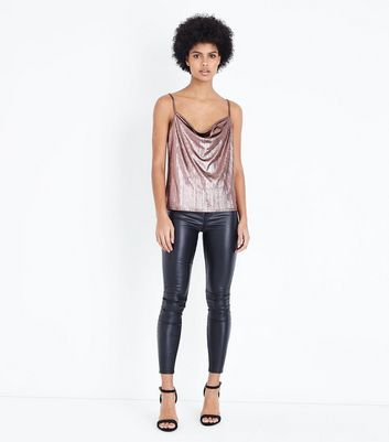 Rose Gold Cowl Neck Cami New Look