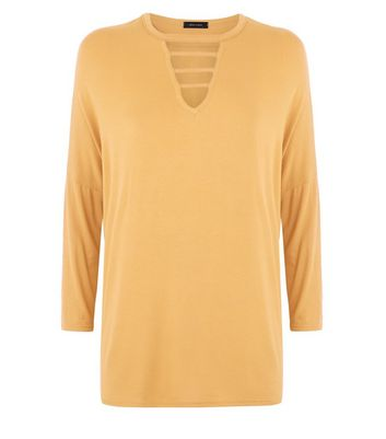 Mustard Yellow Lattice Front Oversized Top New Look