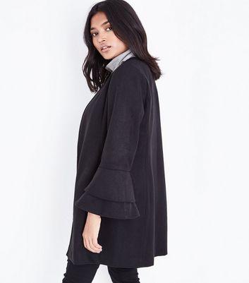 Petite Black Bell Sleeve Longline Coat New Look