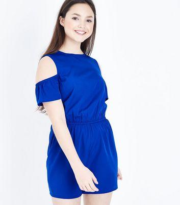 Teens Blue Cold Shoulder Playsuit New Look