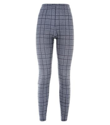 Black Glitter Prince of Wales Check Leggings New Look