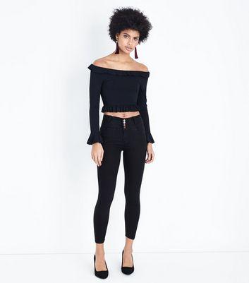 Black Frill Trim Ribbed Bardot Crop Top New Look