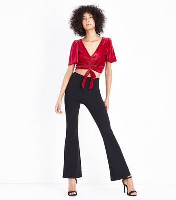Red Velvet Ruched Front Crop Top New Look