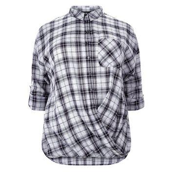 Curves Black Check Twist Hem Shirt New Look