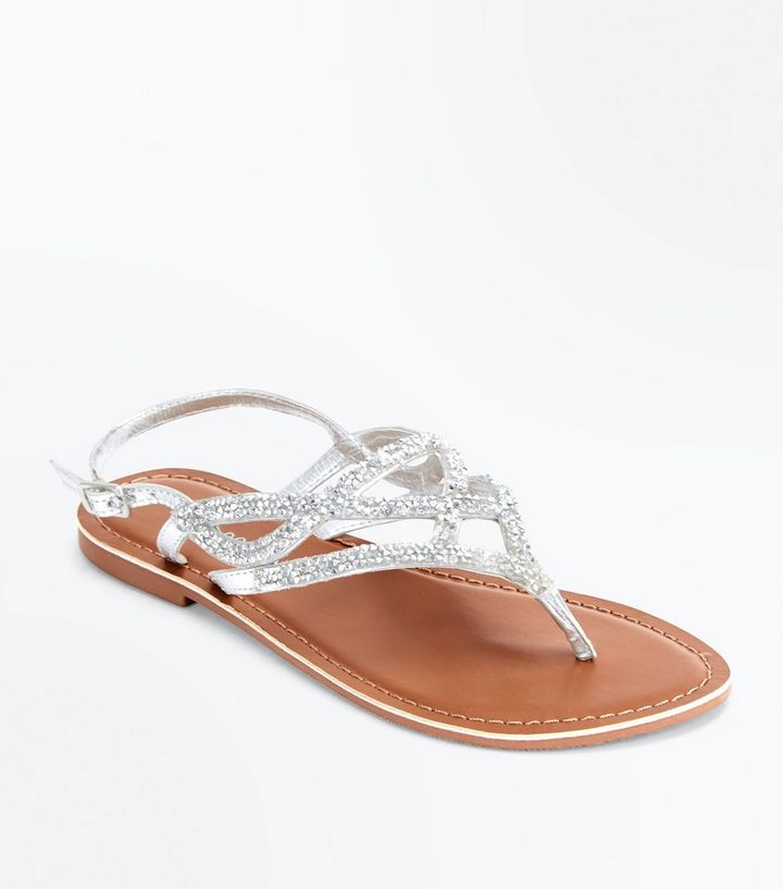 3986ac34bc6e4f Silver Leather Crystal Embellished Flat Sandals