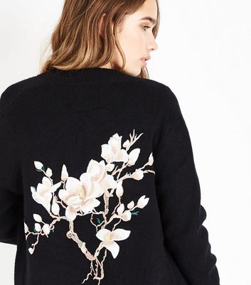 Blue Vanilla Black Floral Back Longline Bomber Jacket New Look