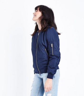 Blue Vanilla Navy Satin Bomber Jacket New Look