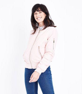 Blue Vanilla Pale Pink Satin Bomber Jacket New Look