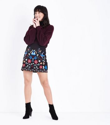 Blue Vanilla Black Floral Embroidered Mini Skirt New Look