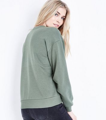 Khaki Tuck Sleeve Sweatshirt New Look
