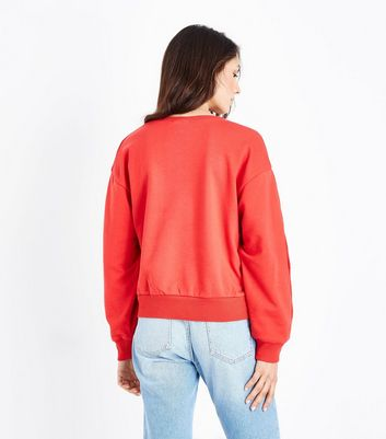 Red Popper Sleeve Sweatshirt New Look
