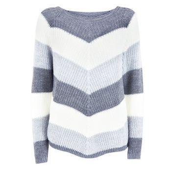 Cameo Rose Grey Chevron Knit Jumper New Look