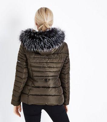 Cameo Rose Khaki Faux Fur Hood Puffer Jacket New Look