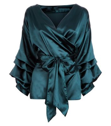 Cameo Rose Dark Green Satin Wrap Front Top New Look