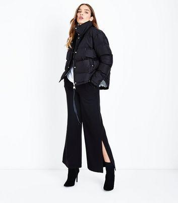 QED Black Dip Hem Cropped Puffer Jacket New Look