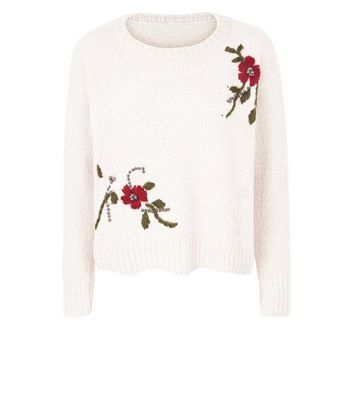 QED Cream Chenille Floral Embroidered Beaded Jumper New Look