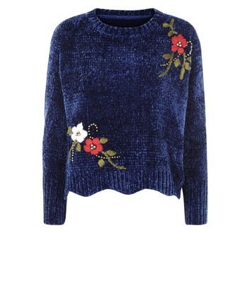 QED Navy Chenille Floral Embroidered Beaded Jumper New Look