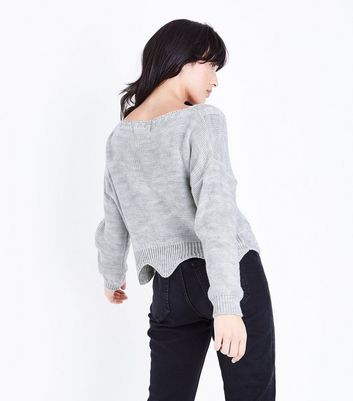 Cameo Rose Grey Pearl Embellished Cable Knit Jumper New Look