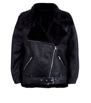 QED Black Faux Fur Lined Aviator Jacket New Look