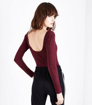 Burgundy Scoop Back Long Sleeve Bodysuit New Look