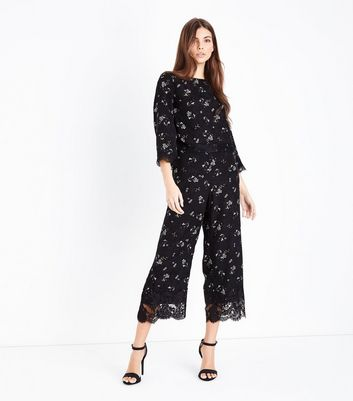 Black Floral Jacquard Lace Hem Culottes New Look