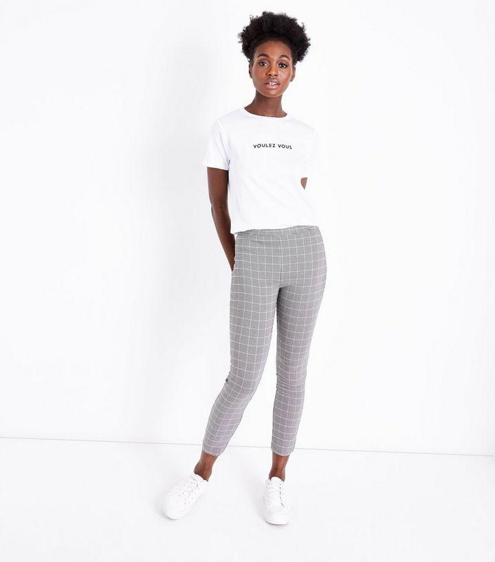 448084fe73389 Black Check Stretch Skinny Stretch Trousers