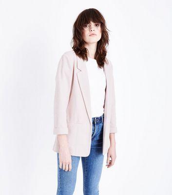 Pale Pink Cross Hatch Blazer New Look