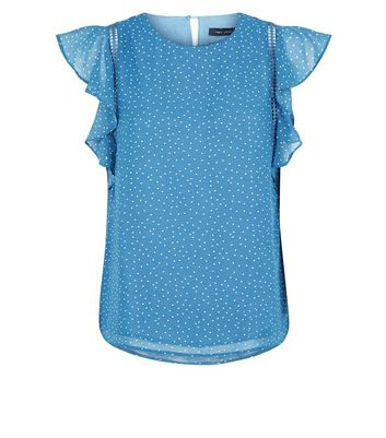 Blue Spot Print Cut Out Frill Sleeve Top New Look