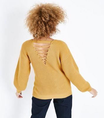 Mustard Yellow Lattice Back Balloon Sleeve Jumper New Look
