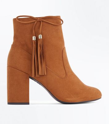 Tan Suedette Bow Tassel Side Heeled Boots New Look