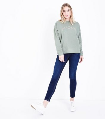 Khaki Amour Pearl Studded Sweatshirt New Look