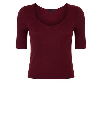 Burgundy V Neck Ribbed T-Shirt New Look