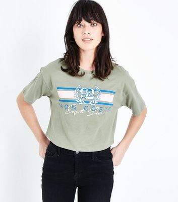 Khaki 92 Logo Cropped T-Shirt New Look