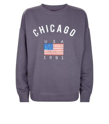 Dark Grey Chicago Slogan Sweatshirt New Look