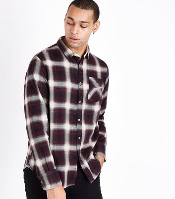 Red Ombre Check Shirt New Look