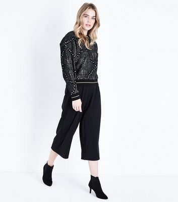 Black Glitter Jacquard Sweatshirt New Look