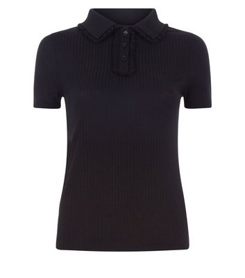 Black Ribbed Polo T-Shirt New Look