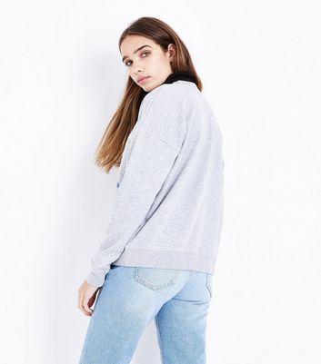 Grey Floral Stripe Slogan Sweatshirt New Look