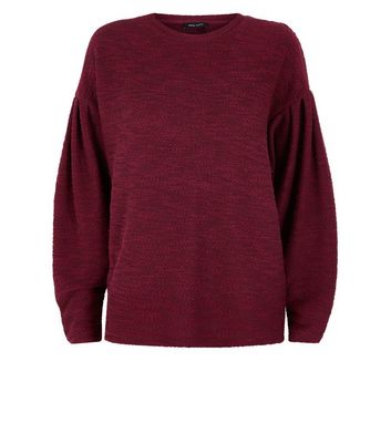 Burgundy Twist Yarn Balloon Sleeve Jumper New Look