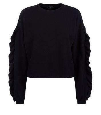 Black Frill Sleeve Jumper New Look