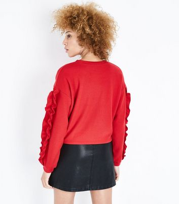 Red Frill Sleeve Jumper New Look