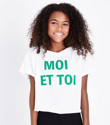 Teens White Moi Et Toi Slogan Crop T-Shirt New Look