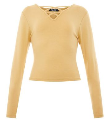 Teens Yellow Double Lattice Long Sleeve Top New Look